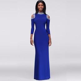 Wholesale White Cold Shoulder Dress - Crystal-Beaded Cold Shoulder Beaded with Bold Crystals Jersey Evening Gown 262624I High Neckline Royal Blue Long Sleeves Prom Dresses
