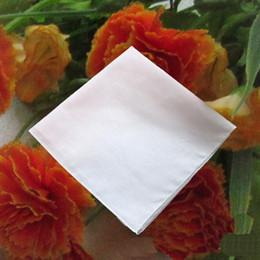 Wholesale Wedding Cotton Handkerchiefs - Pure White Hankerchiefs 100% Cotton Handkerchiefs Women Men 41cm*41cm Pocket Square Wedding Plain DIY Print Draw Hankie