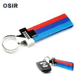 Wholesale Bmw E39 Sport - Leather Belt Chrome Keyring Keychain Key Chain For BMW M Tech M Sport E46 E39 E60 F30 E90 F10 F30 E36 X5 E53 E30 E34 X1 X3 M3 M5