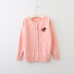 Wholesale Kids Girl Wool Sweater - Everweekend Girls Dots Flower Brooch Cardigan Cute Baby Button Candy Color Sweater Sweet Kids Western Fashion Fall Clothes
