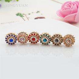Wholesale Hijab Fashion Wholesale - XT58 12pcs lot wholesale flower magnet broches fashion brooches for women Round Inlay rhinestones Elegant libelula hijab accessories