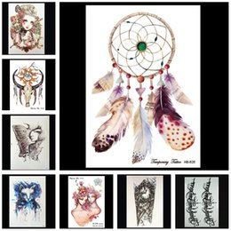 Wholesale Tattoos Hand For Kids - Women Temporary Tattoo Fashion Stencil Vintage Stickers Skull Butterfly Angel Sexy Arm Paste for Kids Men