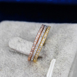 Wholesale Famous Wedding Bands - CWWZircons 3 pcs Mix Colors Women CZ Stones Engagement Wedding Rings Set Rose Gold Color Fashion Famous Brand Ring Jewelry  R093