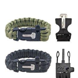 Wholesale Outdoor Survival Magnesium - Wholesale-EDC Outdoor Survival Kits Lifesaving bracelet bangle Whistle Firemaker Magnesium Rod
