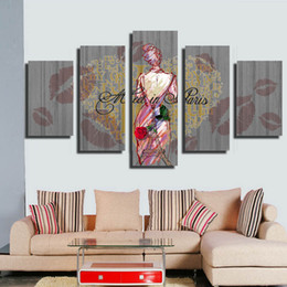 Wholesale Modern Figure Sexy Abstract - 5 Pieces Modern Painting Picture Paint on Canvas Prints Sexy woman Spray painting abstract art home decor wall art