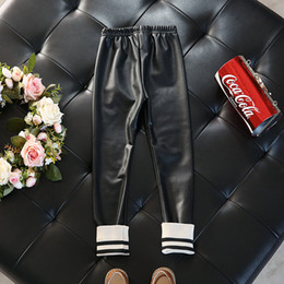 Wholesale Girls Black Leather Pants - Everweekend Baby Girls Pu Leather Leggings Pants Black Color Autumn Winter Cute Fashion Children Pants