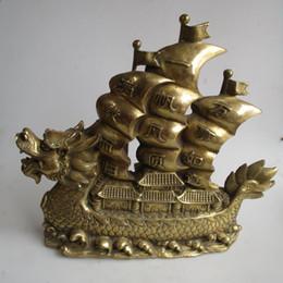 esculturas de dragones chinos Rebajas Long 15 inch / 38 CM Decoración Para El Hogar Feng Shui Gran Estatua de Bronce Chino Dragón Barco / Decoración de Metal Artesanía Esculturas