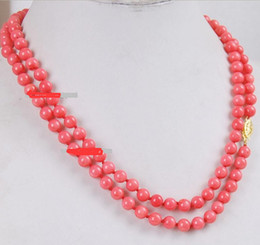 Wholesale Pink Gemstone Beads Free Shipping - Free Shipping >>>>Beautifully Japan Pink Coral Round Beads Gemstones Necklace AAA Grade