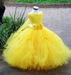Wholesale Yellow Fairy Costume - Belle Costume Kids Princess Beauty and The Beast Yellow Fancy Dress Girls Gown