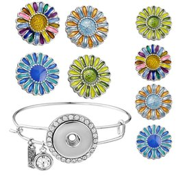Wholesale Press Stud Buttons - 20cm Expandable Snap Bangle Interchangeable Jewelry Accessories Press Studs 4 Styles Charm Trend Sunflower Snap Button N165S