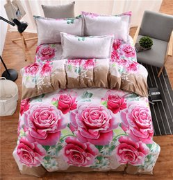 Wholesale Yellow Rose Comforter - 12 colors Soft Flower 3D Printed Bedding Set for King size Girls Bedroom bed sheet duvet cover pillow set