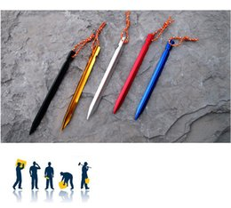 Wholesale Rope Stakes - 18cm aluminum alloy triangular tent nail , tent pegs, stakes nail with rope camping outdoor equipment