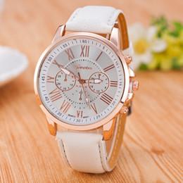 Wholesale Geneva Watch Man - Hot Fashion Unisex Geneva Roman Numerals Faux Leather Analog Quartz Wrist Watches for women men wrist watch dress watches