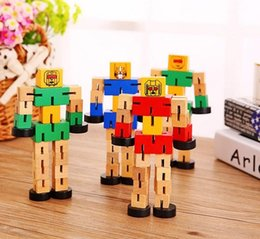 Wholesale Robot Love - Wood Tangles with a rubber Transfomers Robot wooden Toys Educational kids toys Children's Gifts Boy's best love