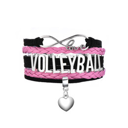 Wholesale Tennis Slide Charm - Antique Silver Plated VOLLEYBALL & TENNIS & FOOTBALL Matched a Heart Pendant Pink and Black Multilayer Braided Bracelets