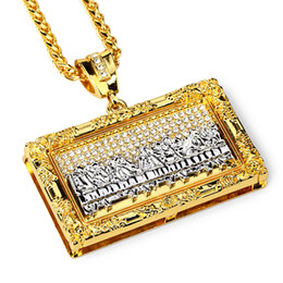 big gold pendant designs Promo Codes - Fashion Designer Hip Hop Rock Big Pendant Necklaces Jesus Last Supper Design 18k Gold Plated 75cm Long Chains Jewelry for Men
