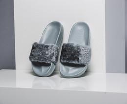 Wholesale Ladies Women Sandal Platform Slippers - Grey Women Leadcat Rihanna Shoes suede platform gold Slippers Indoor Lady Sandals Girls Fashion Scuffs Pink Black White Fur Slides With Box