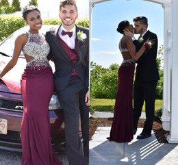 Wholesale Cheap Celebrity Party Dresses - Burgundy Satin Bead Crystals High Neck Red Carpet Celebrity Dresses Sleeveless 2017 Hot Formal Party Gown Cheap Evening Sexy Prom Dresses