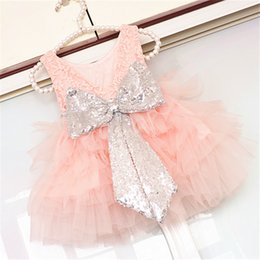 Wholesale Wholesale Chiffon Wedding Dress Gowns - Girl Party Dresses Princess Girl Sequins Bow Lace Tutu Dress Wedding Flower Girl Dresses Party Dress