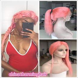 Wholesale Wig Dark Pink Long - brazilian virgin hair lace front wigs Long pink human hair wigs for black women full lace pink hair wig