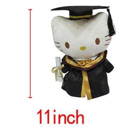Wholesale Graduation Stuffed Animals - 11inches Dr Graduation Animals White Hello Kitty KT Cats plush dolls Stuffed Toys Students Best Gift