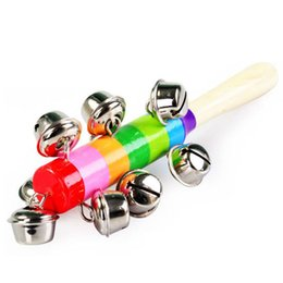 Wholesale Preschool Music - Wholesale- Bell Puzzle Rainbow Baby Hand Ring Baby Infant Toddler Bed Bell Music Developmental Educational Preschool Toys New Hot Selling