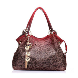 Wholesale Top Leather Handbags Brands - Women's Handbag Brand Tote Purse Shoulder Bag Pu Leather Girl Tote Lace Hollow Out PU Purse Fashion Top Handle Designer Bags for Ladies