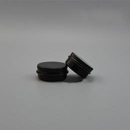 Wholesale Black Lip Container - 10g 15g Black Aluminum Jar Empty Small Lip Oil Cosmetic Eye Cream Bottle Refillable Batom Travel set Tins Containers