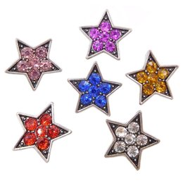 Wholesale Antique Snake Jewelry - 100pcs lot 12mm Star Noosa Snap Button Fit Snap Bracelet Antique Silver Rhinestone Snap Button jewelry