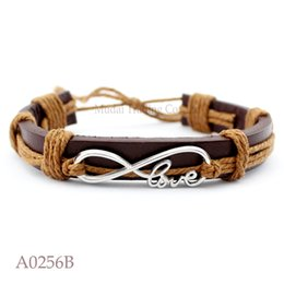 Wholesale Tibetan Wristband - ANTIQUE Tibetan Tone Silver Double Infinity Symbol Love Charm Adjustable Leather Cuff Bracelets Punk Casual Friendship Wristband Jewelry