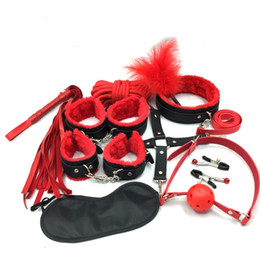 Wholesale Sex Game - 10PCS LOT New Leather bdsm bondage Set Restraints Adult Games Sex Toys for Couples Woman Slave Game SM Sexy Erotic Toys Handcuff