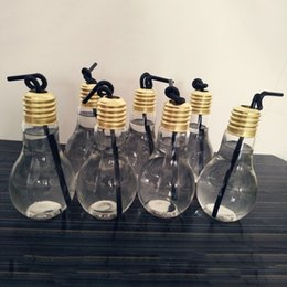Wholesale Transparent Flower Art - Creative Eye-catching Tea Fruit Juice Drink Bottle Cup Light Bulb Shape Plant Flower Glass Vase Home Office Desk Decoration