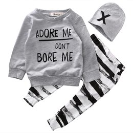 Wholesale Long Sleeve Newborn Outfits - kids boys Autumn clothes baby clothing sets Newborn Baby Girl Boy Long Sleeve T shirt+ zebra Pant Hat 3pcs Outfits Set