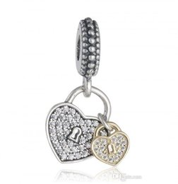 Wholesale Pandora 14k Gold Charms - 2017 Valentine's Day Gift 14K Gold Plated Love Locks Charm Bead Fit Pandora Bracelets 925-Sterling-Silver CZ Pave Heart Dangle Charm Jewelry