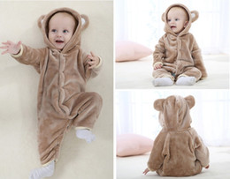 Wholesale Hooded Bear Jumpsuit - Autumn Winter Baby Rompers Bear style baby coral fleece brand Hoodies Jumpsuit baby girls boys romper newborn toddle clothing