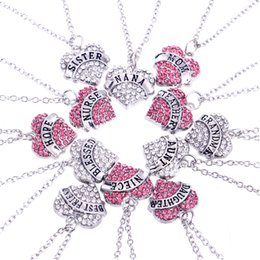 Wholesale Initial Diamond Pendants - New Heart-shaped diamond Pendant Necklaces family affection between family members Pendant Necklaces The lettering of the necklace free ship