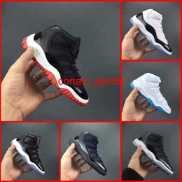 Wholesale Cute Girls Shoes Laces - Cute Baby Retro 11 Space Jam Kids Basketball Shoes Retro XI Children Running Shoes Boys Girls Athletic Shoes All Black Red White Bule