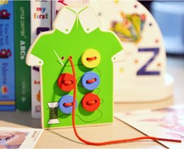 Wholesale Handmade Wooden Buttons - Wholesale- 1Pcs Baby Educational Beads Wooden Lacing Board Toy Sew On Buttons Handmade Line Threading Buttons Beads Montessori Wooden Toy