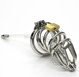 Wholesale Top Sex Toys For Males - Top Quality Male Chastity Cage With Urethra Catheter Double Cock Ring Sex Toys For Man Stainless Steel Chastity Belt