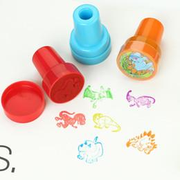 Wholesale Diy Art Toys - Wholesale- 6Pcs Cartoon Dinosaur Self Inking Stamper Art Craft Stamps Kids Party Favors Toy Plastic Creative Drawing Templates DIY Stamper