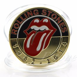 Wholesale Famous Art Collections - Gold Plated Famous Music Group Rolling Stones Commemorative Coin Art Collection