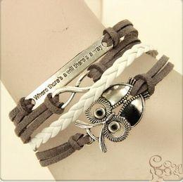 2019 bracelets de tissage mignon BRICOLAGE hibou bijoux de charme mode mignon bracelets lettre d'argent bracelets tissé Bracelet designer corde à la main Bracelet bijoux bracelets de tissage mignon pas cher