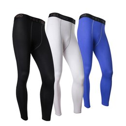 All'ingrosso-Bianco Mens Compression Pants Gym Men Fitness Sport Running Leggings Sport Collant Dry Fit Training Compression Pantaloni da corsa Gym da