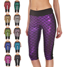 Wholesale Pocket Fishing Scale - Wholesale- 2016 New 4XL Active Fish Scale Pocket Design Women Running Capris Plus Size Sport Running Jogging 11 Colors Mermaid Trousers