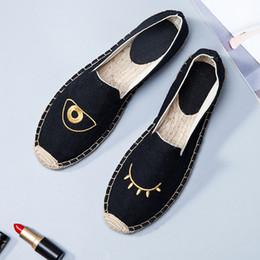Wholesale Stripe Loafers - Lates Summer Handmade Women's Espadrilles Canvas Flats Slip-on Casual Loafers Camouflage Stripe Linen Jute Hemp Soled Fisherman Shoes