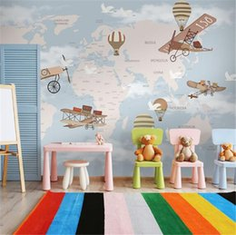 Wholesale House Environmental - Nordic environmental protection children 's room wallpaper cartoon around the world art creative wallpaper hand - painted hot air balloon mu