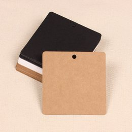 Wholesale Black Kraft - Wholesale- 100 X Square Paper Mark Kraft Paper Tags Hang Pricing Label Party Wedding Favors Gift Candy Boxes Tag Card, Brown Black White
