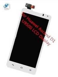 Wholesale Ascend D1 - Wholesale- 00% Original New LCD Display +touch screen digitizer with frame for Huawei Ascend D1 U9500 Completely Assembly Free Shipping