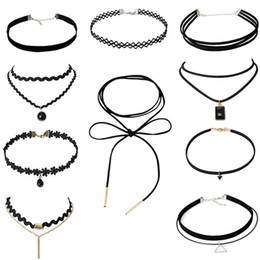 Wholesale Wholesale Black Velvet - Vintage Velvet Chokers Necklace Statement Necklaces Retro Gothic Punk Grunge Black Velvet Tattoo choker Stretch Vollar chokers necklaces
