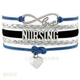 Wholesale Womens Bracelet Sets - Custom-Infinity Love Nursing Heart Charm Wrap Bracelets Christmas Gifts Bracelets Silver Blue Black Leather Custom Womens Bracelets